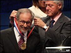 Steven Spielberg and former US President Bill Clinton