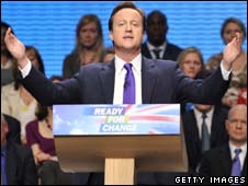 David Cameron giving his conference speech