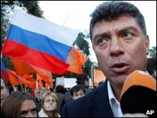 Boris Nemtsov speaks at a rally in Moscow, Russia, 30 September 2009