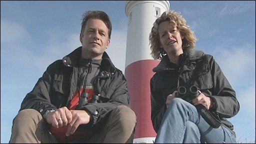 Chris Packham and Kate Humble at Portland Bill