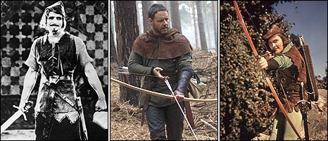 Douglas Fairbanks, Russell Crowe, and Errol Flynn as Robin Hood