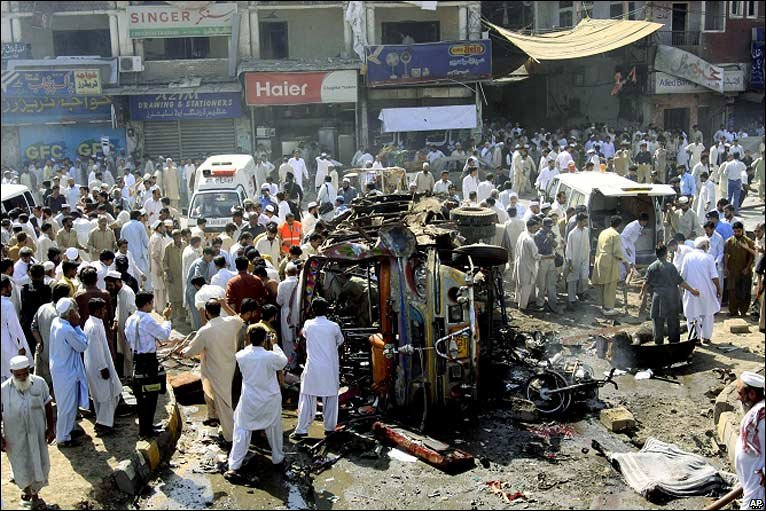 Scene of Friday's bombing in Peshawar