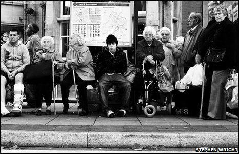 People waiting for a bus