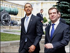 President Obama with Russian President Dmitry Medvedev, Moscow, July 09