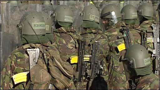 Officer cadets in a riot training exercise