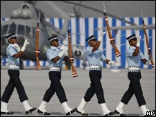 Indian Air Force drill team performs at the IAF Day Parade in New Delhi on Oct. 8, 2009