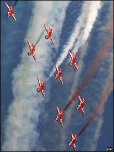 Indian air force's Surya Kiran aircrafts perform at the IAF Day Parade in Delhi on Oct. 8, 2009