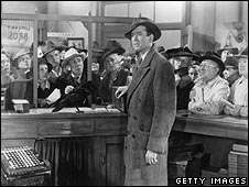 George Bailey tries to prevent a bank run