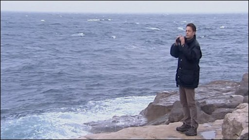 Chris Packham birdwatching on Portland