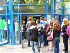 students queuing