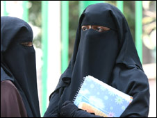 Egyptian women wearing the niqab