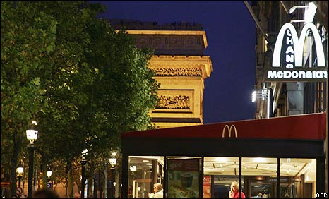 A McDonald's restaurant in front of the Arc de Triomphe on the Champs-Elysees in Paris