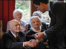 Mr Miliband with veterans of Bletchley Park