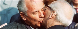 Mikhail Gorbachev and Erich Honecker