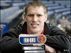 Derek Gaston with his Irn Bru award