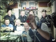 Guy Laliberte with the crew of the ISS (2 October 2009)