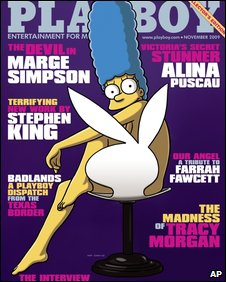 Marge Simpson, a cartoon character, on the front cover of Playboy magazine.