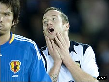 Charlie Adam shows his disappointment as his shot his deflected over the crossbar