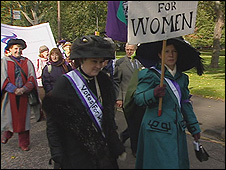 The parade marking the suffragette demonstration