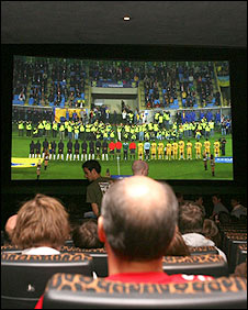 Football coverage in a cinema