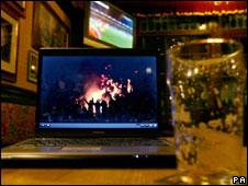Laptop in a pub