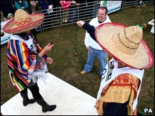 Competitors in sombreros take part in the World Conker Championships