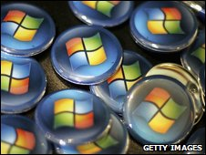 Badges showing Windows logo, Getty