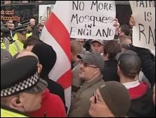 EDL protesters in Manchester
