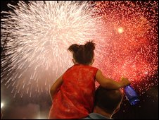 Child watching fireworks