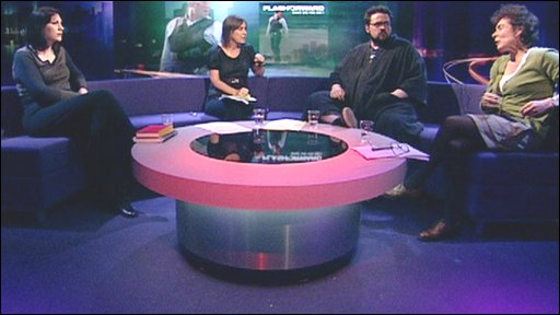 Kirsty Wark with the Newsnight Review panel - Kevin Smith, Natalie Haynes and Jeanette Winterson