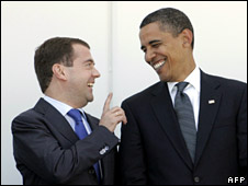 Dmitry Medvedev and Barack Obama (July 2009)
