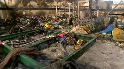 Bombed classroom in Gaza
