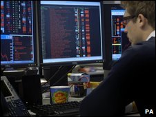Trader watched the FTSE 100 (October 2008)