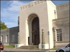 Crown Court entrance at Swansea's Guildhall