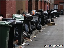 Overflowing bins in Leeds