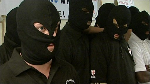 Masked English Defence League members