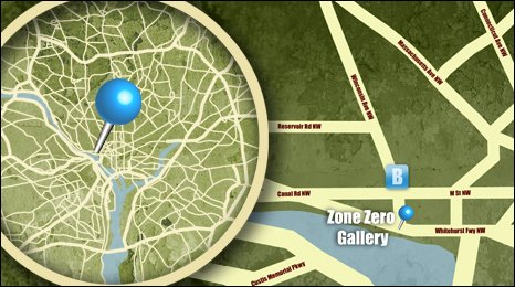 Map of the location of Zone Zero Gallery