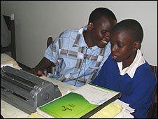 School friends studying