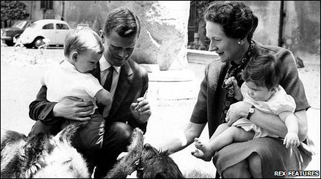 Frank Pogson and Princess Orietta Doria play with their two adopted children