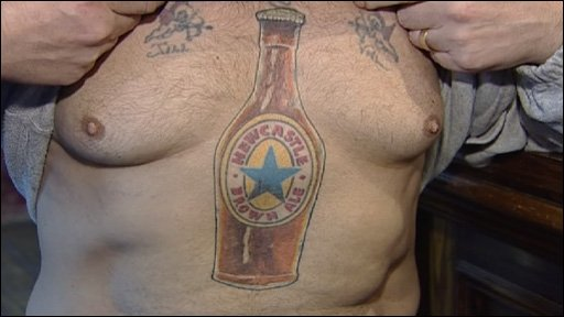 Newcastle Brown Ale tattoo