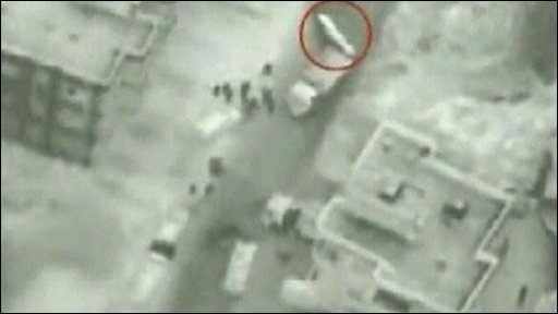 Israeli Army video purportedly showing Hezbollah members covering a truck loaded with munitions after the explosion in Tayr Filsi (13 October 2009)