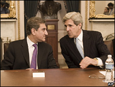 Senator John Kerry and Pakistani Foreign Minister Shah Mehmood Qureshi