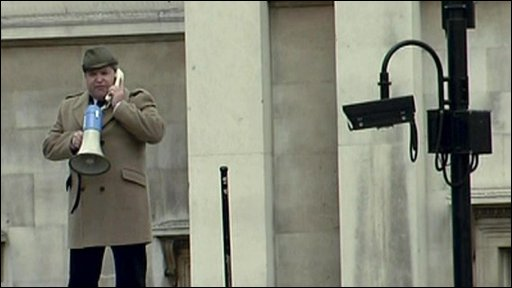Man with megaphone on Fourth Plinth
