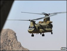 A US army Chinook helicopter