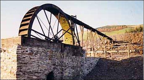 A restored wheel at Llywernog silver lead mine