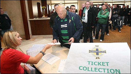 Northern Ireland fans collect tickets at team hotel
