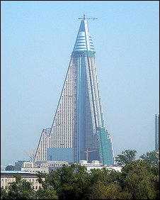 Recent picture of the Ryugyong Hotel: Courtesy Ray Cunningham Jr