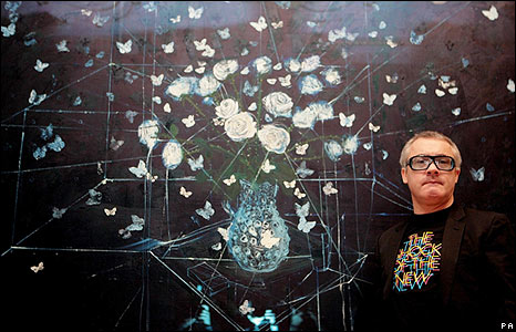 Damien Hirst with White Roses and Butterflies