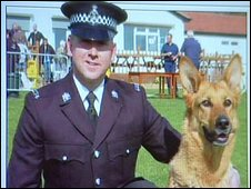 Pc Mark Johnson and Jet in police magazine