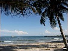 The beach near the Hilton hotel